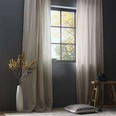 Belgian Flax Linen Curtain + Blackout Lining - Natural