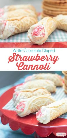 White Chocolate Dipped Cannoli with Strawberry Cream - How amazing do these look? White Chocolate Dipped Cannoli with a Strawberry Cream Filling. Brownie Desserts, Köstliche Desserts, Delicious Desserts, Dessert Recipes, Yummy Food, Dessert Cups, Italian Desserts, Pizzelle Cookies, Italian Recipes