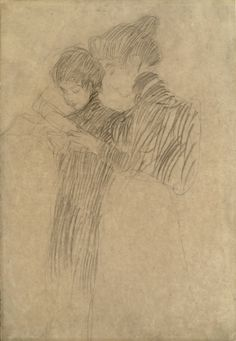 """Two girls standing, holding sheet music in their hands (Study for """"Schubert at the Piano"""") 1896 by Gustav Klimt"""