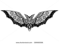 Bat line art design for tattoo, t shirt design, coloring book, and so on - stock vector
