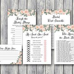 bacc1c92235 DOWNLOAD Pink Floral Bridal Shower Game Package