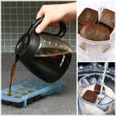 Iced coffee:  freeze coffee in ice cube trays, pour milk,cream over top in a glass.  Caramel coffee recipe 3 ½ cups coffee cubes ½ cup whole milk ½ cup sugar 2 tablespoons caramel syrup 1 teaspoon chocolate syrup ¼ teaspoon salt 1 pinch vanilla extract
