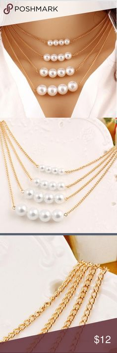 New pearl stack necklace Beautiful elegant necklace with pearl and gold detail. Jewelry Necklaces
