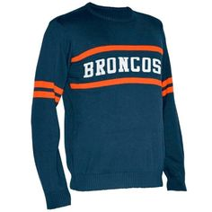 Denver Broncos Vintage Stripe Sweater - Navy Blue