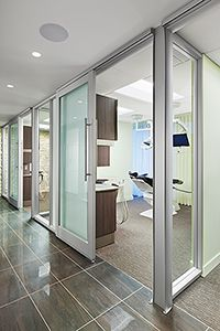 Bennett Signature Dentistry - Dental Office Design by JoeArchitect in Denver, Colorado Perhaps have all glass but then be able to close them. Between operators can be glazed. Dental Office Decor, Medical Office Design, Modern Office Design, Healthcare Design, Home Office Decor, Office Setup, Dental Offices, Modern Offices, Office Fun