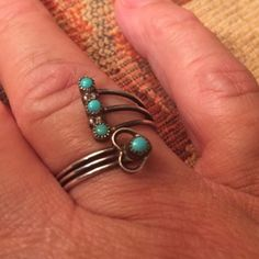 Cupid's arrow says I love you. Tell you true love with this unique Native American style vintage turquoise ring.