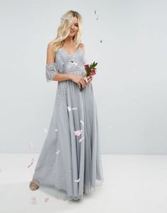 ASOS WEDDING Embellished Lace Insert Cami Cold Shoulder Maxi Dress