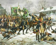 Don Troiani Historical Artist The Battle of Trenton in 1776 which certainly could be described at the battle that saved American Independence. Here is depicted the death of Colonel Rall commanding the Hessian Brigade the Hessian Brigade defending the town. Following the this up with another victory at Princeton , the crumbling rebellion was given new hope and General Washington's bold move assured his place as one of the greatest Americans of all time.