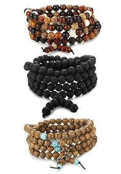 ORAZIO Beads Bracelet for Men and Women 108 Buddhist Prayer Sandalwood Lava Rock Stone Necklace Elastic Bracelets For Men, Beaded Bracelets, Buddhist Prayer, Cool Things To Buy, Stuff To Buy, Stone Necklace, Happy Shopping, Crochet Necklace, Prayers