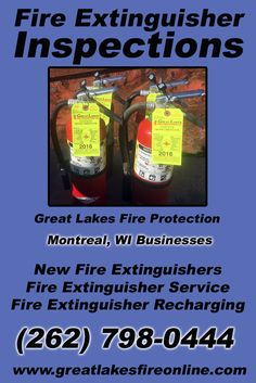 Fire Extinguisher Inspections Montreal, WI (262) 798-0444 Local Wisconsin Businesses Discover the Complete Fire Protection Source.  We're Great Lakes Fire Protection.. Call us today!