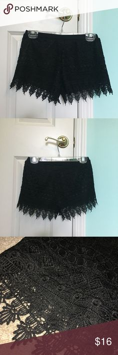 Black Crochet Shorts -perfect condition, like new, worn once -size small, fit like an XS -have an elastic waistband  -brand Stella Luce, similar to styles sold at Forever 21 Forever 21 Shorts