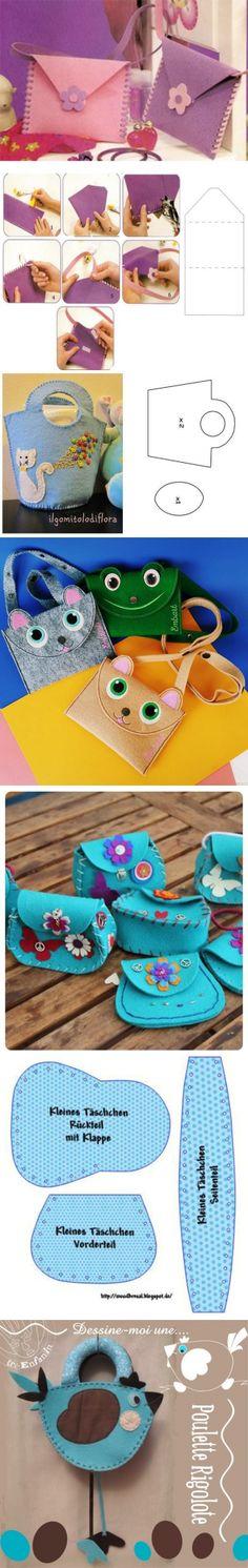 ✔Как сделать из фетра детскую сумочку? Выкройка детской сумки из фетра?