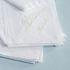 What a great gift idea for dad or father of the bride.  Embroidered cotton handkerchief.  Have it embroidered to say 'I will always be daddy's little girl' or with your wedding date.  #wedding #gifts #mwri