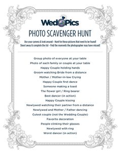WedPics Scavenger Hunt! How to keep guests busy before bridal party arrives?? Problem solved!