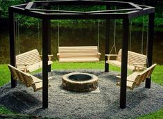 Firepit with swings, I would replace one swing with two toddler/kid swings, and then one area with a bar/BBQ grill