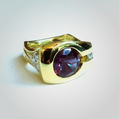 Alexandrite mens ring in 18k yellow gold with diamonds - one of a kind, custom designed at Skylight Jewelers