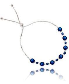pulseira regulável prata com zirconias safira e cristais com banho de rodio semi joias finas