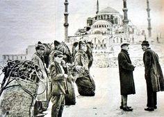 Kömür taşıyan develer, Sultanahmet, 1930 #istanbul  #istanlook