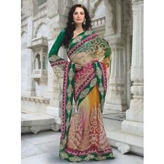 Captivating Aloe Vera Green & Deep Orange Faux Georgette Embroidered Saree