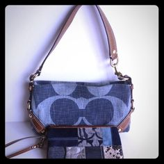 Coach Denim Purse & Denim Patchwork Wristlet Coach Denim Purse with Matching Denim Patchwork Wristlet Used Condition. No Rips or Tear. Coach Bags