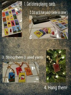 Used loteria cards and made ornaments! Loteria Cards, Mexican Christmas, Christmas Ornaments To Make, Day Of The Dead, Holiday Ideas, Arts And Crafts, Thanksgiving, Crafting, Easter