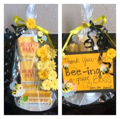 "My goodbye gift to my boss. Our nickname for each other was ""bee"". Which is a sweet way to say b*tch. LOL."