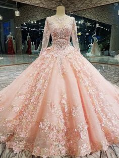 Cheap Wedding Dresses, Buy Directly from China Suppliers:Melice Vintage O-neck Long Sleeve Pink Ball Gown Wedding Dress 2017 Appliques Lace Embroidery Flowers Bride Gown Robe De Mariage Ball Gowns Prom, Ball Gown Dresses, Pink Ball Gowns, Lace Prom Gown, Beaded Dresses, Blush Prom Dress, Cute Prom Dresses, Bridal Dresses, Long Sleeve Quinceanera Dresses
