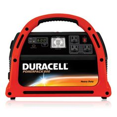 DURACELL® POWERPACK 600 - for indoor power needs (netbook, cellphones, electric coffee grinder, etc) Can recharge it at the porch outlet or directly off of a solar panel when not in use. Also has a built in radio, light and digital alarm clock which is nice and handy.