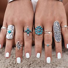 Chic ethnic bohemian set of 9 rings at just $4.99
