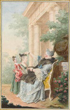 Portrait de Catherine Cécile Péan de Mosnac, Madame d'Orval, assise et Mademoiselle de Wargemont, en pied, vers 1760 Louis Carrogis dit Carmontelle