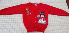 Rabbit Skins Red Christmas Snowman Embellish Cardigan Top Snaps  sz 5 #RabbitSkins #Cardigan #DressyHoliday