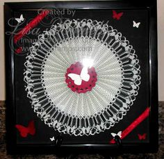 Rosette Frame Die Art! I absolutely love the Rosette Bigz XL Die!  I have held a class and will be holding future classes that we will be making these with various designer papers.  This one is using Modern Medley Designer paper.  Add some ribbon, butterflies and a shadow box and you have a beautiful work of art that everyone will want.  Check out my boards and blog for more ideas.  Made by: Lisa Bowell-Stampin' Up! Demonstrator @ lisastamps.com