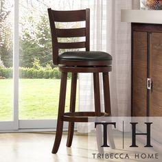 TRIBECCA HOME Verona Espresso Ladder Back Swivel inch Barstool