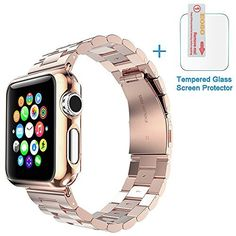 Creazy® Stainless Steel Strap Watch Band+Adapter+Case Cover for Apple Watch 38mm (Rose Gold)