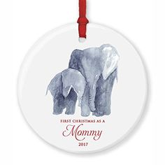 New Mommy Ornament 2017 First Christmas as a Mommy Baby  Mama Elephant Porcelain Ornament 3 Flat Circle Christmas Ornament w Glossy Glaze Red Ribbon  Free Gift Box  OR00006 Browne -- You can get additional details at the image link. (This is an affiliate link)