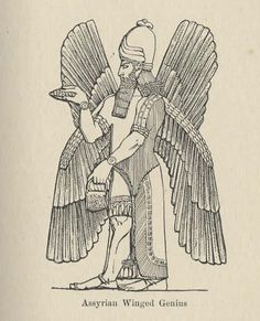Assyrian Winged Genius, Anna Jameson, Sacred and Legendary Art Ancient Aliens, Ancient Art, Ancient History, Ancient Mesopotamia, Ancient Civilizations, Babylon Art, Persian Tattoo, Egyptian Tattoo Sleeve, Angels And Demons
