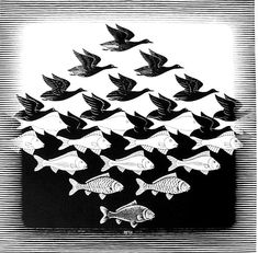 Art History In the Schools: Tessellations with MC Escher Mc Escher, Escher Kunst, Escher Art, Op Art, Escher Tessellations, Negative Space Art, Space Drawings, Quilt Modernen, Principles Of Design