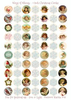 Wings of Whimsy: 1 Inch Kerstmis Circles - gratis VOOR Persoonlijk use of # printbare # freebie # efemere # vintage