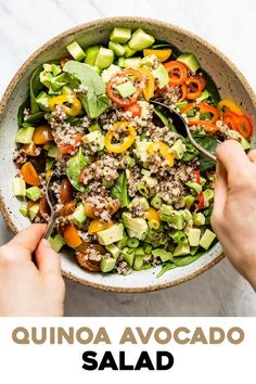 An easy to make Quinoa Avocado Salad that is made with tomatoes, cucumber and tossed in a lemon vinaigrette. It's a protein-packed salad that is great for lunch by itself or as a side dish for dinner.