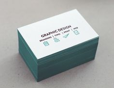 letterpress name card / tiffany blue / grey / edging