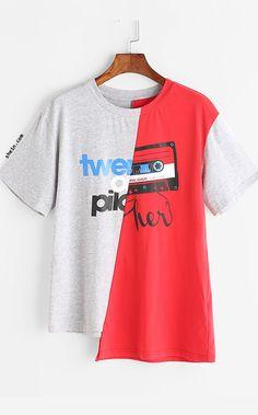 Contrast Graphic Print Asymmetric T-shirt