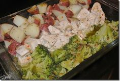 All in one pan chicekn  4-6 raw chicken breasts, new potatoes, green beans (fresh or canned-really any green veggie would work. Broccoli is good, too). Arrange in 9x13 dish. Sprinkle with a packet of Italian dressing mix and then top with a melted stick of butter. Cover with foil and bake at 350 degrees for 1 hour.