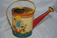 Ohio Art Co 30's Tin Vintage Metal Watering Can Toy