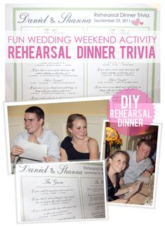 Great idea for a fun rehearsal dinner! from: The Busy Budgeting Mama: DIY- Rehearsal Dinner Trivia Game~this is a good idea especially if you've got a wedding party with lots of people that only know the bride and/or groom lol nice conversation starter Cute Wedding Ideas, Wedding Games, Diy Wedding, Wedding Events, Dream Wedding, Weddings, Wedding Stuff, Wedding Trivia, Bridal Games