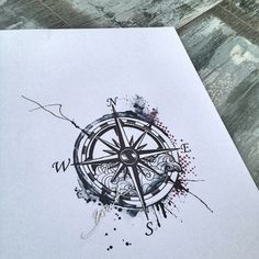 watercolor compass tattoo | Tumblr