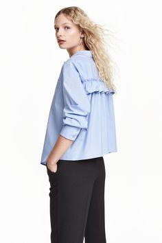 New Women's Brief Back Pleated Blouse 2016 Autumn Ladies Casual Long Sleeve Cotton Shirts Blusas Loose Blue Blouses Preppy Mode, Preppy Style, Blouse Ample, Mode Bcbg, Mode Unique, Vestidos Zara, Estilo Preppy, Moda Formal, Ruffle Shirt