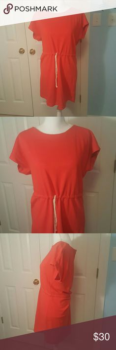 J.Crew bright coral cotton summer dress size S Fun bright coral J.Crew cotton summer dress.  Size small. Excellent condition! J. Crew Dresses Midi