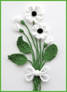 Crochet Applique Poppy Flowers and Leaves Set by CraftsbySigita