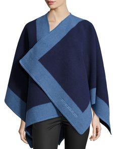 Colorblock Cashmere-Blend Cape, Blue - Burberry
