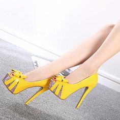 Fashion Round Peep Toe Bow-tie Designed Platform Stiletto Super High Heels Yellow PU Basic Pumps